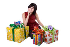 The young girl with a gift box Stock Photo