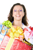 The young girl with a gift box Stock Image