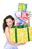 The young girl with a gift box Royalty Free Stock Photography
