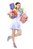 The young girl with a gift box Stock Images