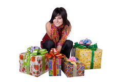 The young girl with a gift box Stock Photos