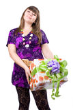 The young girl with a gift box. The young beautiful girl with a gift box on a white background Royalty Free Stock Photos