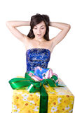 The young girl with a gift box Stock Photography