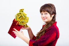 Young girl with a gift box Stock Photography