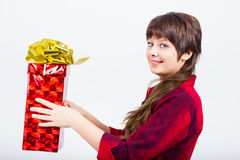 Young girl with a gift box Royalty Free Stock Image