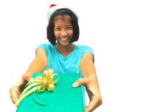 Young girl with gift box Stock Photos
