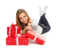 Young girl with gift boxes Stock Image