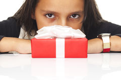 Young girl with gift Stock Images