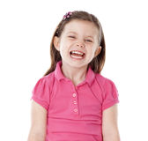 Young girl giggling. On isolated white background Stock Image