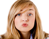 Young girl give kiss to the camera Royalty Free Stock Photos