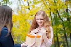Young girl giving birthday present box Stock Photography