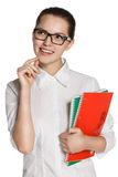 Young girl in glasses with notebook, thoughtfulness Stock Photo