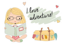 Young girl with glasses reading a book, packed suitcase vector illustration