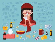 Young girl caught cold flu or virus. Treatment of illness. Young girl in glasses and red hat caught cold flu or virus. She has red nose, high temperature and Royalty Free Stock Photography