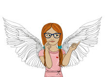 Young girl with glasses thinking. Angel with beautiful wings. Dream and looks away. Showing thumbs up. Vector illustration. Pop art style on a white background Stock Photography