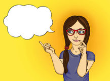 Young girl in glasses thought. Daydreaming and looking to the si. De. Shows paltsem.Pop art style on a yellow  background Stock Image