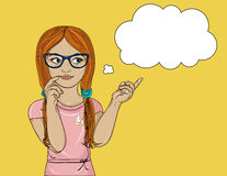 Young girl in glasses thought. Daydreaming and looking. To the side. Shows a finger. Vector illustration. Pop art style on a yellow background Royalty Free Stock Photos
