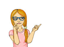 Young girl in glasses thought. Daydreaming and looking to the side. Shows paltsem.Pop art style on a white background Royalty Free Stock Photo
