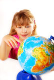 Young girl with globe Royalty Free Stock Photo