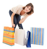 A young girl goes shopping Royalty Free Stock Photos