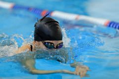 Young girl in goggles and cap swimming butterfly stroke style in the blue water pool. Stock Photography