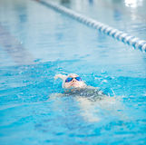 Young girl in goggles swimming back crawl stroke style Royalty Free Stock Photography
