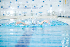 Young girl in goggles swimming butterfly stroke. Young woman in goggles and cap swimming butterfly stroke style in the blue water indoor race pool Royalty Free Stock Photos