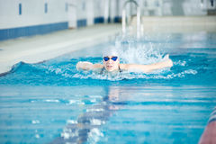 Young girl in goggles swimming butterfly stroke Stock Image