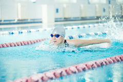 Young girl in goggles swimming butterfly stroke. Young woman in goggles and cap swimming butterfly stroke style in the blue water indoor race pool Stock Photography