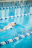 Young girl in goggles swimming front crawl stroke Stock Photography