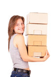 Young girl is going to move into a new house Stock Image