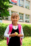 Young girl going to school Royalty Free Stock Photos