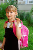 Young girl going to school Royalty Free Stock Photo