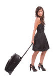 Young girl, going on vacations. Isolated on white Stock Image