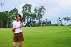 Young girl golfer Royalty Free Stock Images