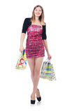 Young girl after good shopping Royalty Free Stock Photos