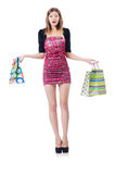 Young girl after good shopping Royalty Free Stock Images