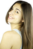 Young girl with Gorgeous hair smiling. Woman with straight long hair smiling Stock Photo