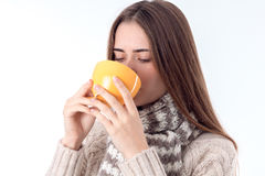 Young girl got sick and drinking hot tea Royalty Free Stock Photo
