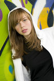 Young girl on graffiti background Royalty Free Stock Photography