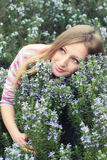 Beautiful young girl in a grass field of rosemary Royalty Free Stock Photo