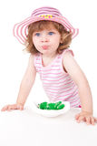 Young girl with green candys Royalty Free Stock Images