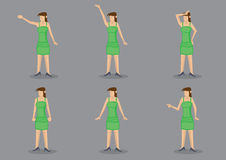 Young Girl in Green Dress Vector Character Illustration Royalty Free Stock Photos