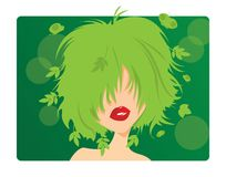 Young girl with green hair Royalty Free Stock Image