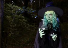 Young girl with green hair and flask with a potion in suit of witch in forest. Halloween time. Young girl with green hair and skin suit of witch in forest stock images