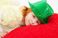 Young girl in green hat Royalty Free Stock Image