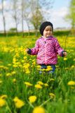 Young girl on green meadow. Royalty Free Stock Photography