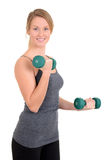 Young girl with green weights. Isolated Young girl with green weights Stock Image
