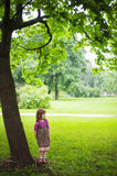 Young girl in the greenery Petersburg  Stock Images