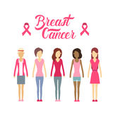 Young Girl Group Breast Cancer Awareness Concept Royalty Free Stock Photography